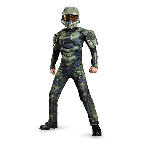 [Disguise Master Chief Classic Muscle Costume, Large (10-12)] (Master Chief Halo Costumes For Kids)