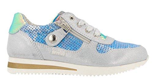 Develab Sneaker Halbschuhe Leder blau silber Reißverschluss