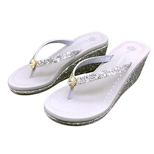 air JRenok Coin de Sandales Anti Plage a Argent Plein d'été Womens en Forme Plate Dérapant Pearl Tongs Sandales Slide PwYPqCra
