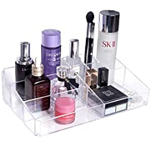 Gospire Clear Makeup Organizer Vanity Tray, 9 Spaces Cosmetic Storage Display Case Storage Box for Lipstick, Makeup Palette, Makeup Brush and Skin Care Products.