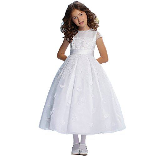 Dzdress Kids Appliques Pageant Wedding Flower Girl Dresses Organza with Bow 14 White -