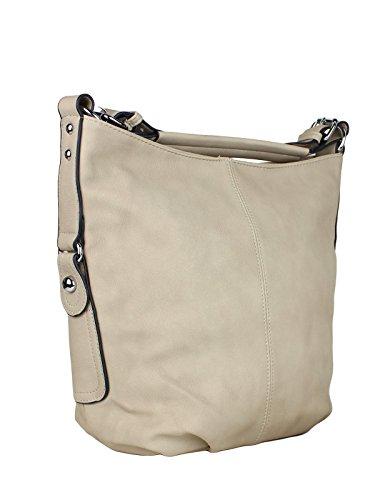 H&D Damen Tasche Hobo Bag Elegant - Schlichte Schultertasche Umhängetasche Kunstleder Beige Vegan