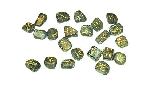 A++ Labradorite Rune Stone Set Flat Genuine Healing Positive Energy Love Spiritual Divine Psychic