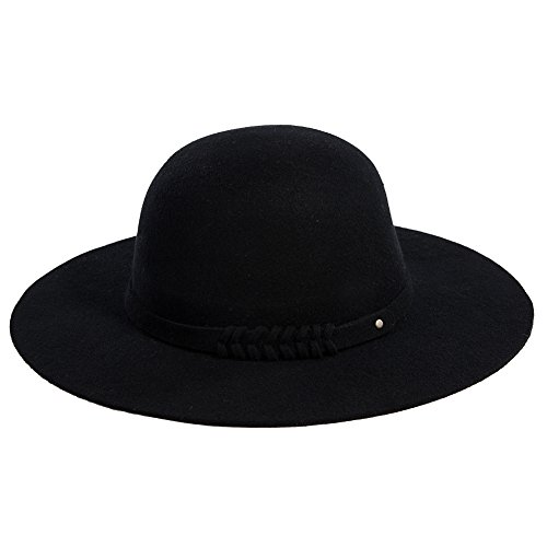 Siggi Ladies 100% Wool Felt Top Hat Winter Fedora Party Hats for Women Black (Felt Fedora Hats)