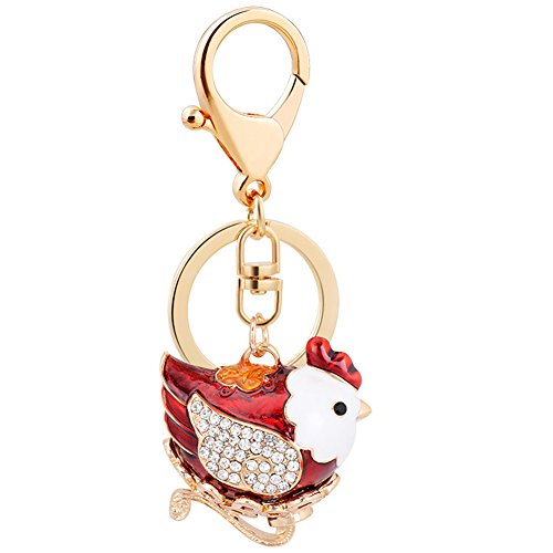 (Aibearty Cute Red Chicken Shape Keychain Crystal Fashionable Car Accessories Birthday Gift)