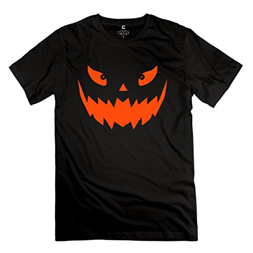 LuopeG Really Scary Halloween Pumpkin Face Vector Black Adult T-Shirt For Men (Really Scary Halloween Pumpkin Faces)