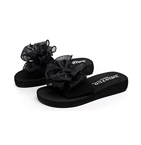 Black dérapant Papillon Summer GSHGA Tongs Sandales Lady Plage Fleurs Anti Pantoufle gvgxnaz4q