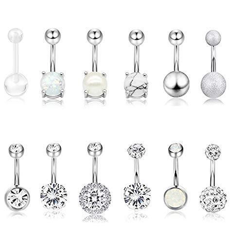 Masedy 12Pcs Belly Button Rings for Women Girls Surgical Steel Curved Navel Barbell Rings Body Piercing Jewelry Silver