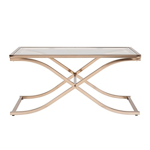 Southern Enterprises Vogue Cocktail Table, Champagne Brass Finish -
