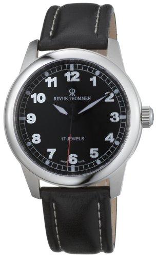 Revue Thommen Men's Automatic Watch Pilot Basic Winder Black 17070.3537 with Leather Strap
