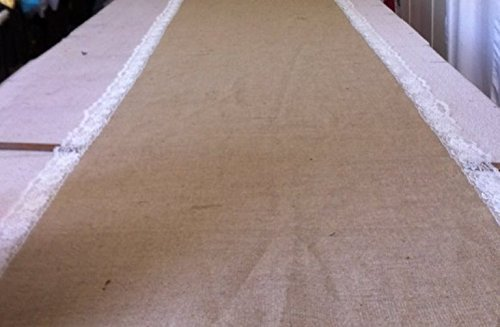 Burlap and lace Aisle Runner 25 Feet Long with Pull cord