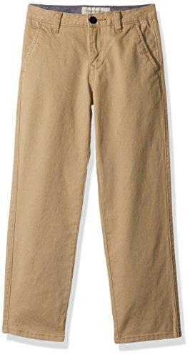 Calvin Klein Big Boys' Motion Stretch Twill Flat Front Pant, Khaki, 16 (Calvin Klein Khaki Pants)