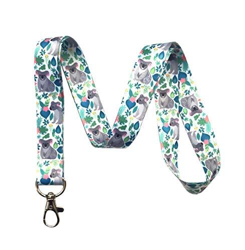 Koala Print Lanyard Key Chain Id Badge -