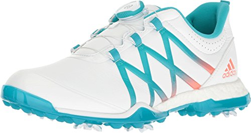 adidas Womens Adipower Boost BOA Golf Shoes, Ftwr White/Energy Blue/Easy Coral, 6.5 M US by adidas