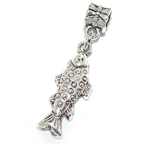 GemStorm Silver Plated Dangling Fish For European Snake Chain Bracelets