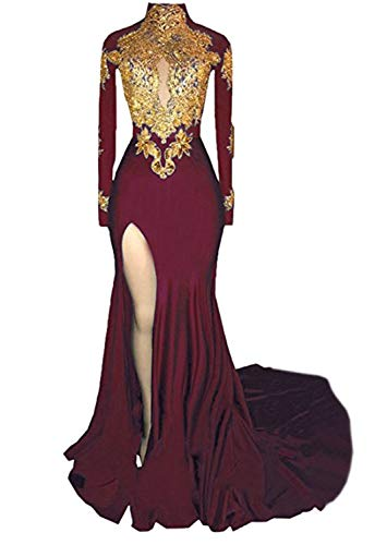 Graceprom Women's High Neck Mermaid Prom Dresses Side Slit Long Sleeves Evening Party Gowns 18
