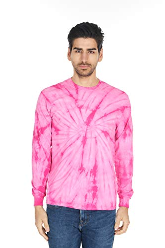 - DARESAY Tie Dye Style Long Sleeve T-Shirt, Spider Pink, Large