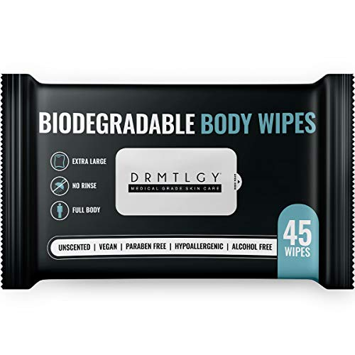 DRMTLGY Body and Face Shower Wipes for Women and Men – 45 Wipes. XTRA Large Biodegradable No Rinse Cleasning Wipes For…