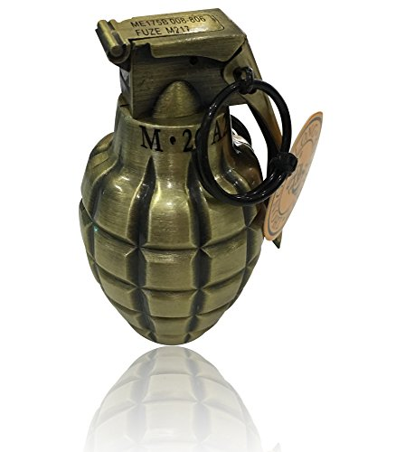 Large Lighter in Grenade or Bullet Case Design with Green/Blue/Red Flame...