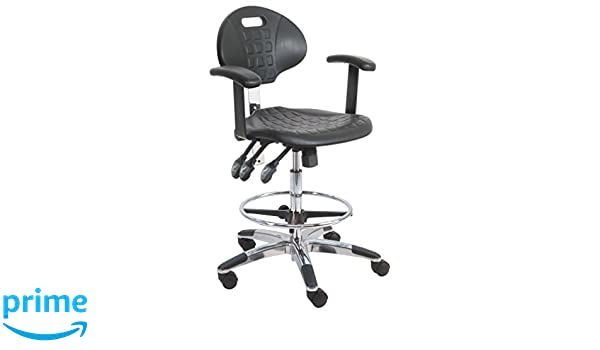 450 lbs Capacity BenchPro LCT-UC-AA-3L Deluxe Polyurethane HD Cleanroom Lab Chair//Workbench Stool with Chrome Base and Adjustable Armrest 18.5 Width x 21-29 Height x 18 Depth