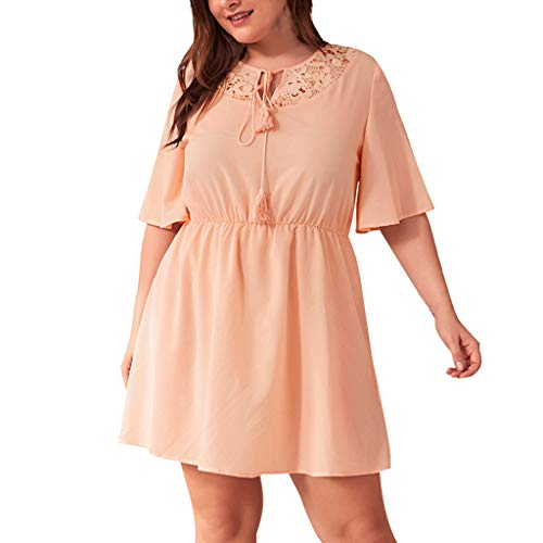 Mikilon Womens Plus Size Loose Summer Dress Floral Lace Neck Tie Short Sleeve Swing Mini Casaul Dress Pink