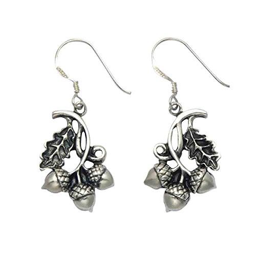 (Sterling Silver Acorns & Oak Leaf Wire Earrings)