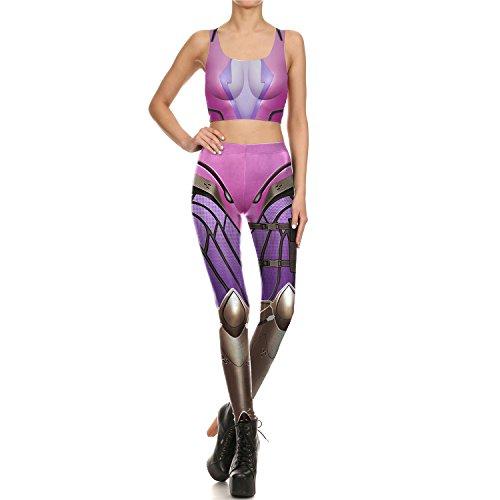 リハーサル安全でないヘルパーXZP 新しいデザインの女性のレギンス3Dプリント紫色のロボットアークラインセクシーなレギンス女性のスポーツのためのヨガパンツのタイツレギンスフィットネスレギンスベスト