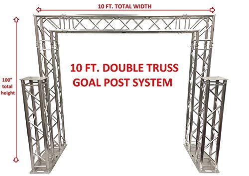 Complete 10ft Square Aluminum Double Truss Goal Post Lighting System DJ Lights Extra 1.25 Meter Upright Truss Totems Attach To Bases!