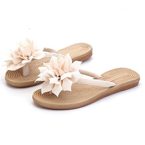 Linen ENCOCO Flops Beige Women's Flower Sandals Beach Flat Flip Non Slip Slipper Sandal XwqRZwf