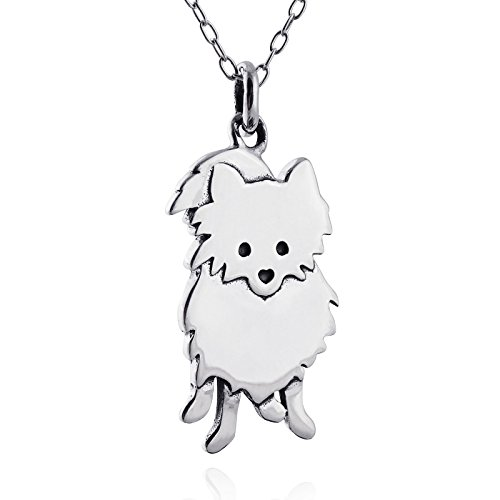 Sterling Silver Pomeranian Dog Silhouette Pendant Necklace, 18