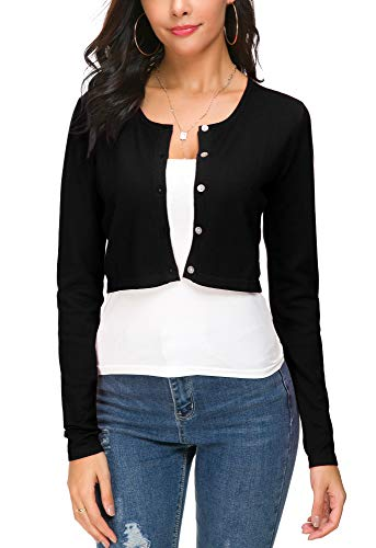Women's Short Cropped Bolero Cardigan O-Neck Button Coat Trendy Knitted Sweaters (L, Black) - Neck Cropped Cardigan