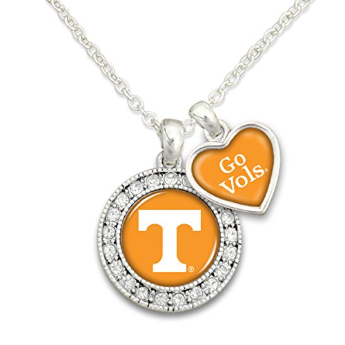 (Sports Team Accessories Tennessee Volunteers Logo and a Heart Shaped Charm Necklace Featuring Team Slogan)