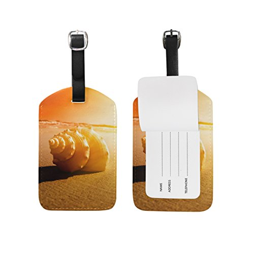 JSTEL Yellow Beach Sunset Luggage Tags Suitcase Labels Travel ID Identifier Privacy Cover Beach Theme Luggage Tag