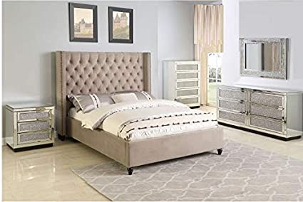 Real Wood Bedroom Sets | Amazon Com Esofastore Beige Contemporary California King Size