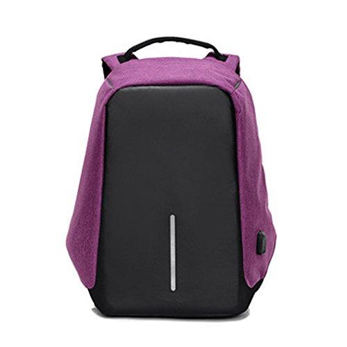 Espeedy Multi-función hombres mochila de fibra de poliéster estudiante bolsa de hombro paquete de computadora para viajes de negocios escalada camping violeta