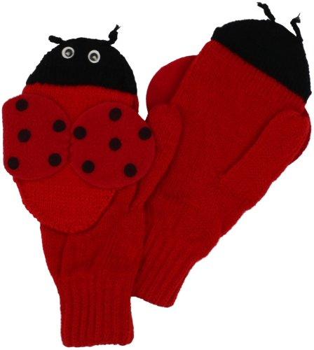 Kidorable Red Ladybug Soft Acrylic Mittens for Girls With Fun Wings and Antennae, Small (Ages 3-5)