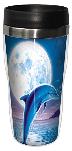 Moon Dolphins (Dolphin Moon Travel Mug, Stainless Lined Coffee Tumbler, 16-Ounce - Gift for Dolphin and Ocean Animal Lovers - Tree-Free Greetings 77086)