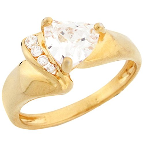 Trillion Sides Ring - 14k Yellow Gold Trillion Cut CZ Ring Round Channel Set Side Accents