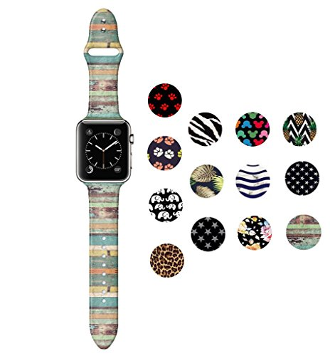 Dsigo Replacement Band for Apple Watch 38mm 40mm Series 4 Series 3 Series 2 Series 1 M/L, Strap Bands for iwatch, Silicone Sport Style Wristband, Personalized Design Vintage Lacquered Wood Grain