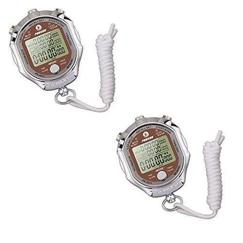 GLLP Stopwatch, Timer, Multifunctioneel Elektronisch Metalen Horloge, Track En Veld Sport Stopwatch (2 Stks)