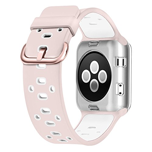UMTELE Compatible with Apple Watch 4 Bands 40mm 38mm, Soft Silicone Sport Strap with Ventilation Holes Breathable Replacement Bands Replacement for Apple Watch Nike+, Series 4/3/2/1 40mm 38mm