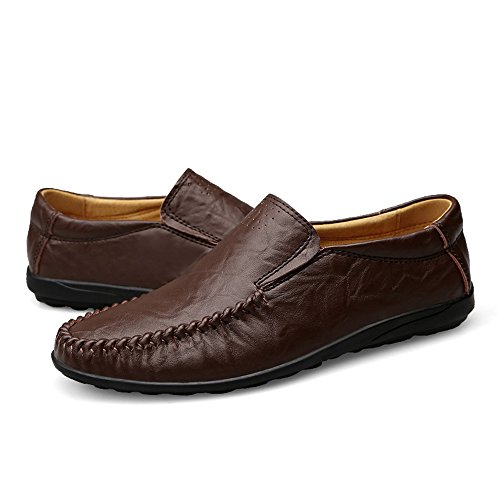 Handmade Genuine Leather Men Flats, Fashion Soft Leather Men Shoes Loafers men Moccasins zapatos hombre (9.5)