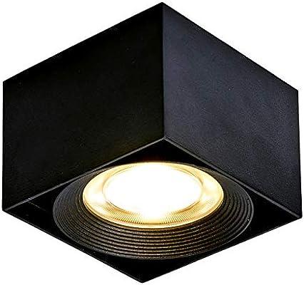 DR.Lazy Interior 10W LED Lámpara de techo, foco montado en superficie focos, luz interior empotrada, 10x10x7cm (Negro-3000K) [Clase energética A +]
