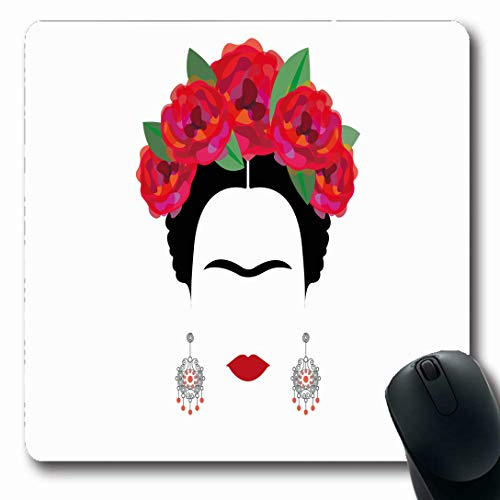 Ahawoso Mousepads for Computers Earrings Red Mexican Spanish Minimalist Frida Folklore Black Catrina Celebration Design Tattoo Oblong Shape 7.9 x 9.5 Inches Non-Slip Oblong Gaming Mouse Pad