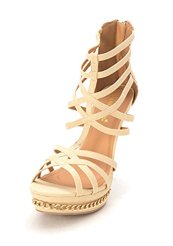 Shoedazzle Åpen Strappy Uformell Sandaler Tå Talisha Kvinners Taupe Zv1xwqrZB