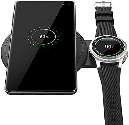 MoKo Qi Cargador Inalámbrico Rápido, Diseño Escalable Soporte de Carga rápida Cargador Duo Compatible con Samsung Galaxy Watch Active, Galaxy Buds, ...