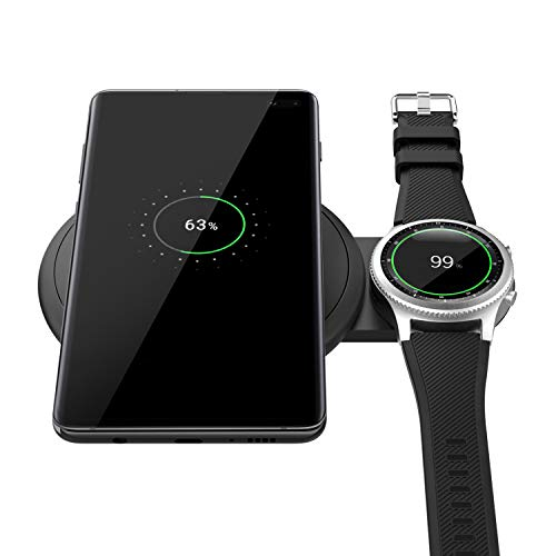 MoKo Wireless Charger Duo, 2 in 1 Qi-Certified Fast Charging Pad Fit Samsung Galaxy Watch Active/Galaxy Buds, Galaxy Watch 42mm/46mm, Gear S2/S3, S10/S10+/S10e, iPhone Xs/XR/Xs Max/X (No AC Adapter)