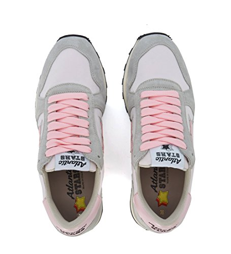 ATLANTIC STARS Womens Alhena Grey Leather and Pink Nylon Sneakers Multicolour fx3BnUcd