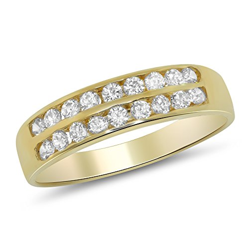 1.00 Carat (ctw) 14k Yellow Gold Round Channel Set 2 (Two) Row Wedding Band Anniversary Ring (4mm) 1 CT - Size 7.5