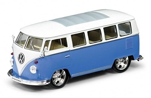 NEW 1:24 DISPLAY WELLY COLLECTION - BLUE 1962 VOLKSWAGEN BUS LOW RIDER Diecast Model Car By Welly (Volkswagen Model Car compare prices)